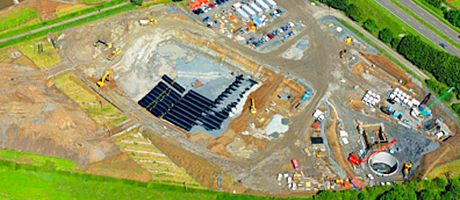 Aerial view of the site that became home for the 10 million litre tank. The over-all scheme will improve water quality in Ayrshire towns.