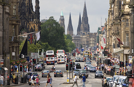 Princes Street in Edinburgh: The city council is introducing speed-restricted 20mph zones in an effort to improve air quality.