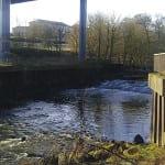 The A899 road bridge, where runoff drains into the River Almond