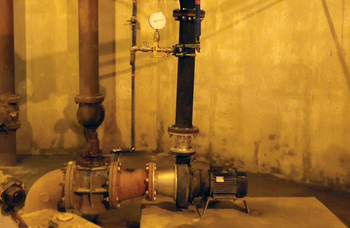One of Landia's pumps at Little Rock taking up far less room on the plinth than the previous much larger screw impeller pumps