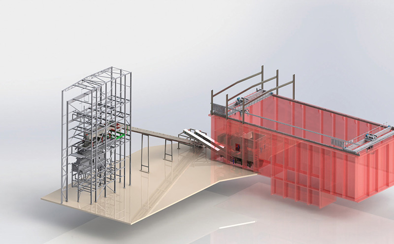 3D drawing of proposed Saxlund biomass fuel storage and feed solution at Templeborough, Sheffield