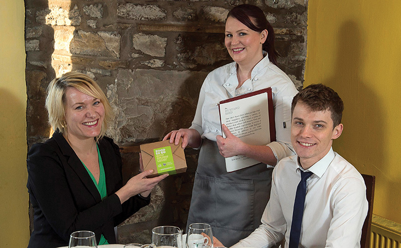 Good to Go Inverness launch L-R Ylva Haglund from Zero Waste Scotland joins Sarah Grant (waitress) & Matthew Bohdaniec (manager) at The Mustard Seed, Inverness