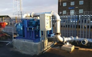 The pumping station is positioned over the discharge pit and comprises two Wemco WSP6 self-priming pumps, galvanised mild steel pipework, heated jackets for cold weather protection and a control panel c/w pulsar ultrasonic level control.