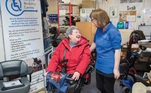 Elaine Williamson of Recycle Mobility meets loyal customer Elizabeth McLeod.