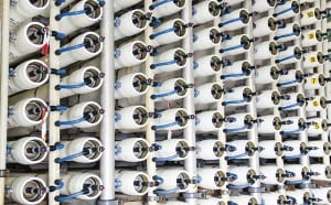 A reverse osmosis plant for desalinating sea water in Israel