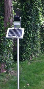 The CairNet system combines gas monitoring with solar panels and wireless communications.