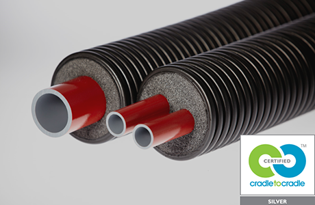 District heating pipe work has sustainable design rubber stamp