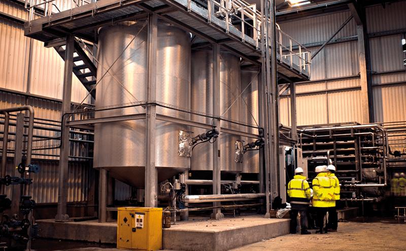 Sludge pasteurisation tanks at a UK sewage facility.