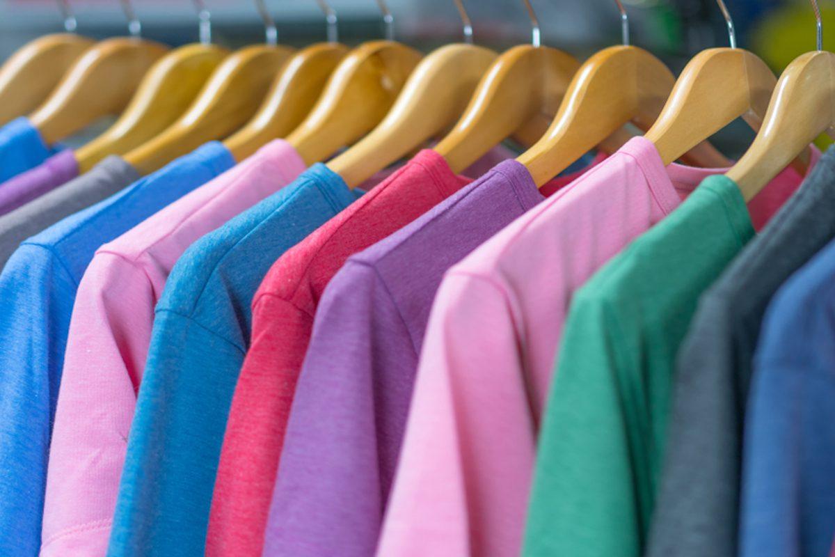 colourful t-shirts on racks