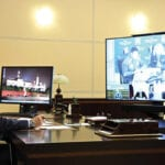 President Putin chairing a meeting about the fuel spill