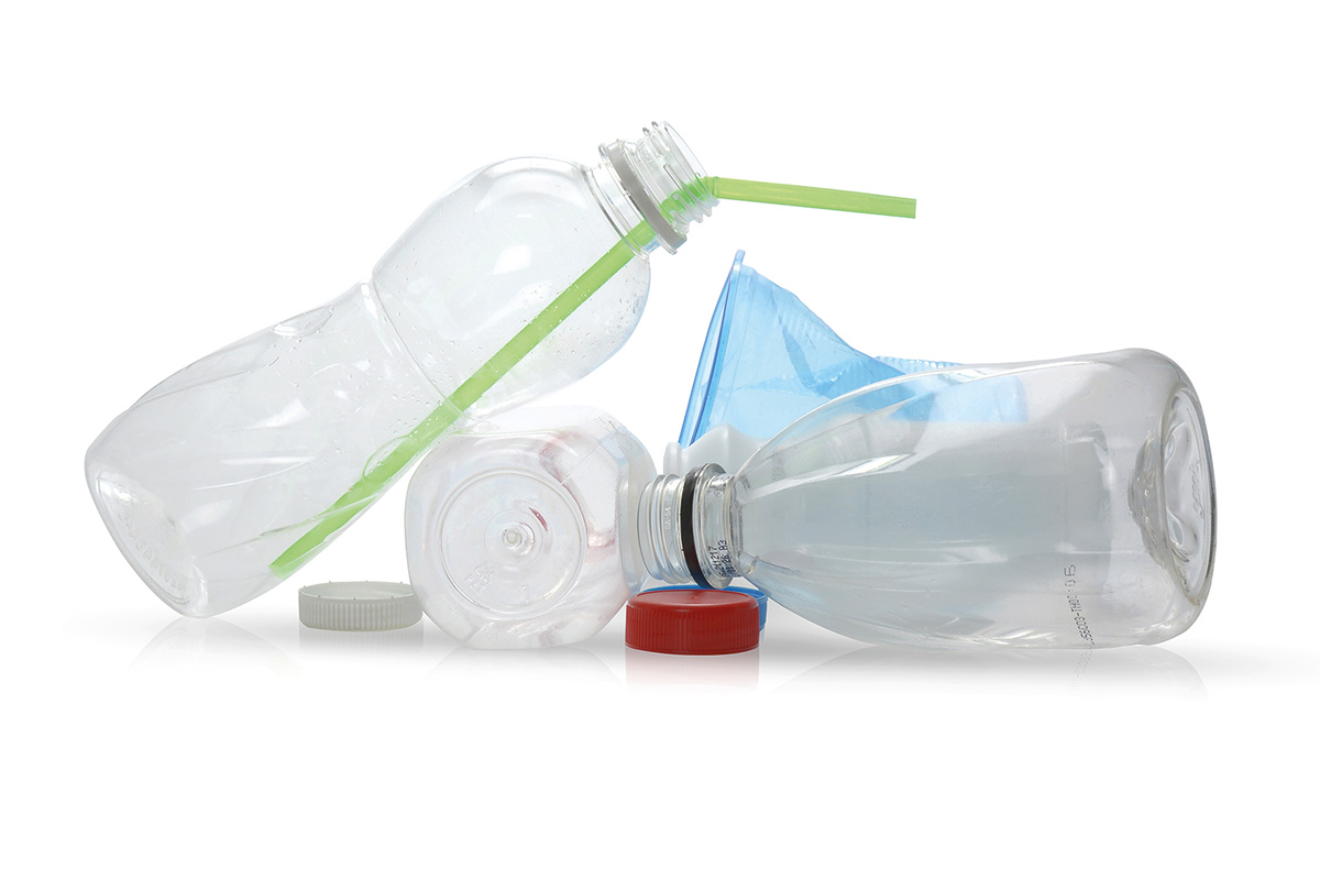 Plastic objects on white background