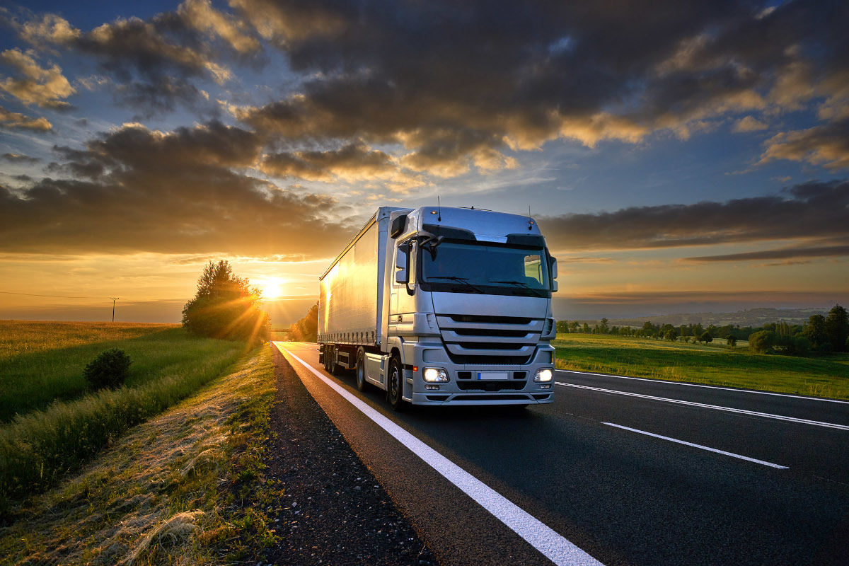 Lorry and sun